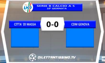 Video: Città di Massa-CDM Genova 0-0. Serie B 10 ^ Giornata Calcio a 5