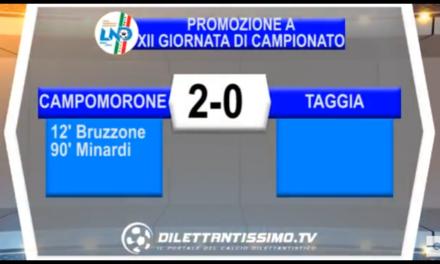 VIDEO: Campomorone-Taggia 2-0. Promozione A 12ª Giornata
