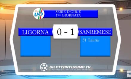 Video : LIGORNA-SANREMESE 0-1. Serie D Girone E, 17^ Giornata