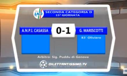 VIDEO: ANPI CASASSA- MARISCOTTI 0-1. Gara e  Interviste