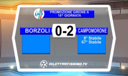 VIDEO: BORZOLI-CAMPOMORONE 0-2. Promozione A 18ª Giornata
