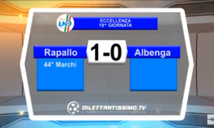 VIDEO – Eccellenza 19a giornata: Gli highlights di Rapallo-Albenga 1-0