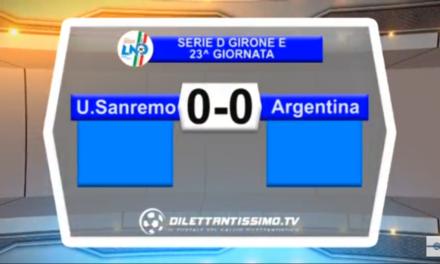VIDEO, SANREMESE-ARGENTINA 0-0, Serie D Girone E, 23^ giornata. Interviste FONTE RIVIERA SPORT.IT