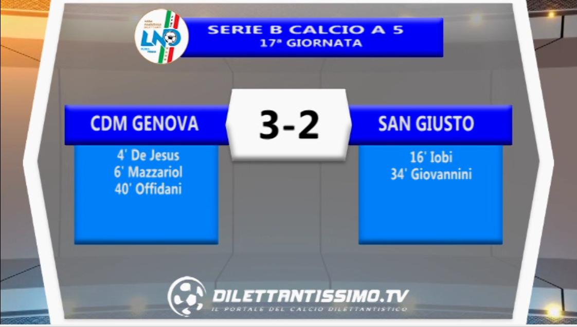 Calcio a 5 – Il VIDEO della vittoria per 3-2 della Cdm Genova sul San Giusto