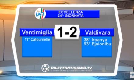 VENTIMIGLIA-VALDIVARA 1-2. Promozione Girone A 23^ giornata stagione 2017/2018