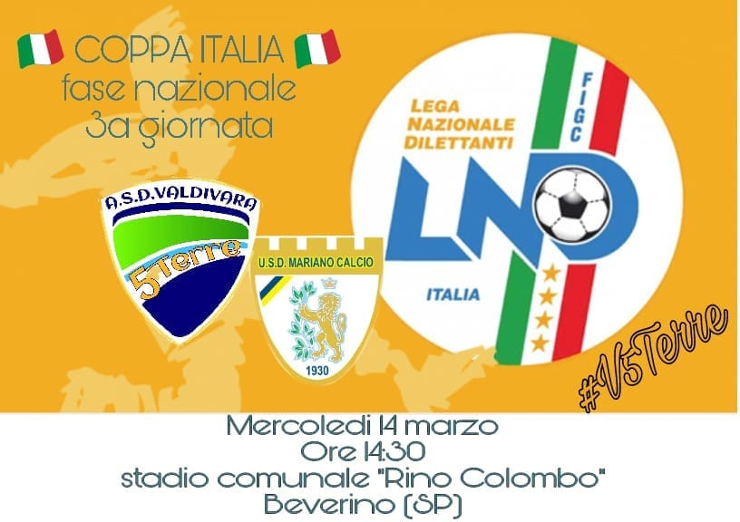 Domani il Valdivara 5 Terre proverà a scrivere la storia: contro il Mariano per conquistare i quarti di Coppa Italia