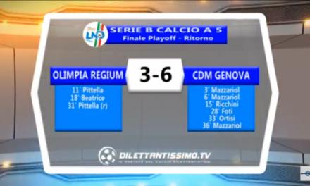 Calcio a 5 – La Cdm Genova espugna Reggio Emilia e vola in A2: gli highlights di un'impresa storica