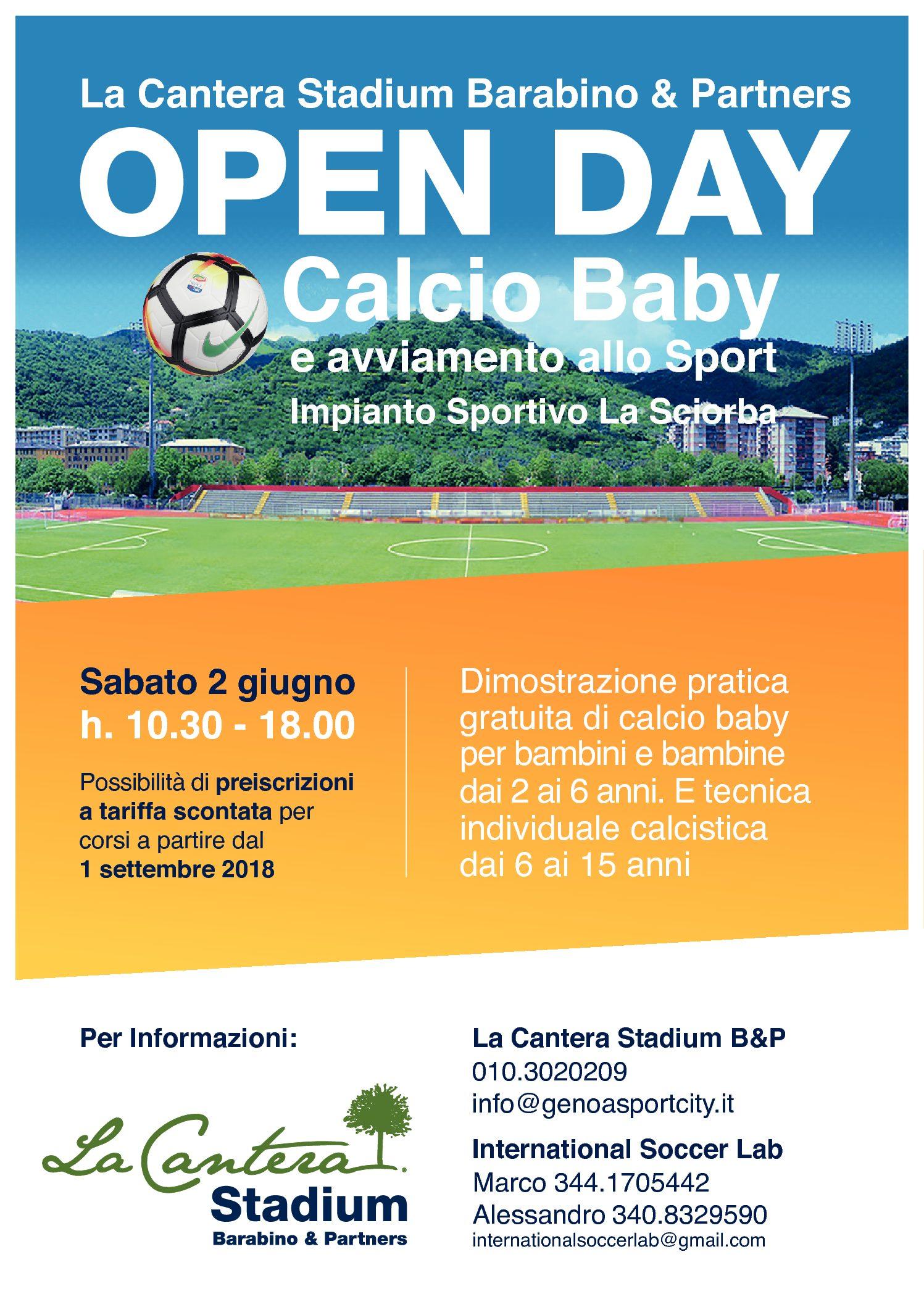 Nuovo appuntamento con gli Open Day di calcio baby e avviamento allo sport per bambini e bambine dai 2 anni in su.