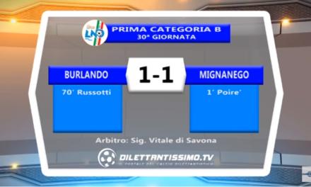 VIDEO – Prima B: Gli highlights di Burlando-Mignanego 1-1