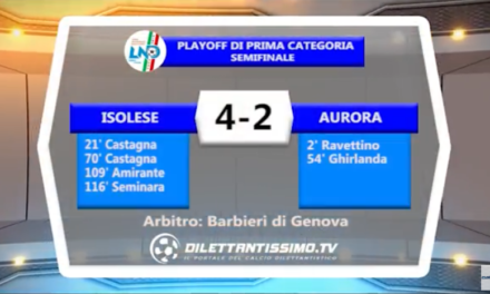 VIDEO – Prima Categoria: Guarda gli highlights  di Isolese-Aurora 4-2