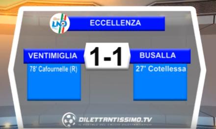 VIDEO – Eccellenza. Gli highlights di Ventimiglia – Busalla 1-1