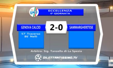 VIDEO – SERVIZIO TV ECCELLENZA. La Genova Calcio si sveglia nella ripresa: 2-0 alla Sammargheritese