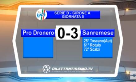 VIDEO – SERIE D: Il servizio Tv di Pro Dronero-Sanremese 0-3