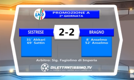 """VIDEO – PROMO A: Sestrese e Bragno si spartiscono la posta. Al """"Piccardo"""" finisce 2-2"""