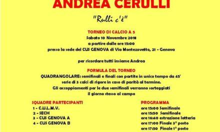 SABATO 10 NOVEMBRE 1º Memorial ANDREA CERULLI