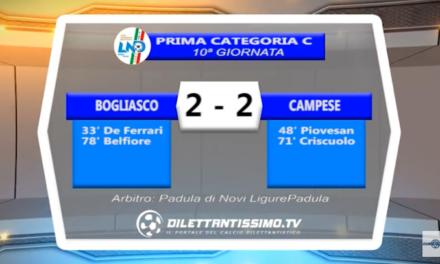 VIDEO – Prima C: Il servizio di Bogliasco-Campese 2-2