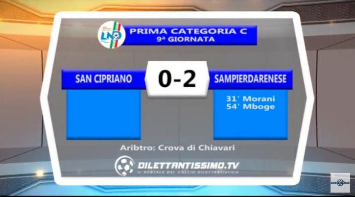 VIDEO – Prima Categoria C: Il servizio di San Cipriano-Sampierdarenese 0-2