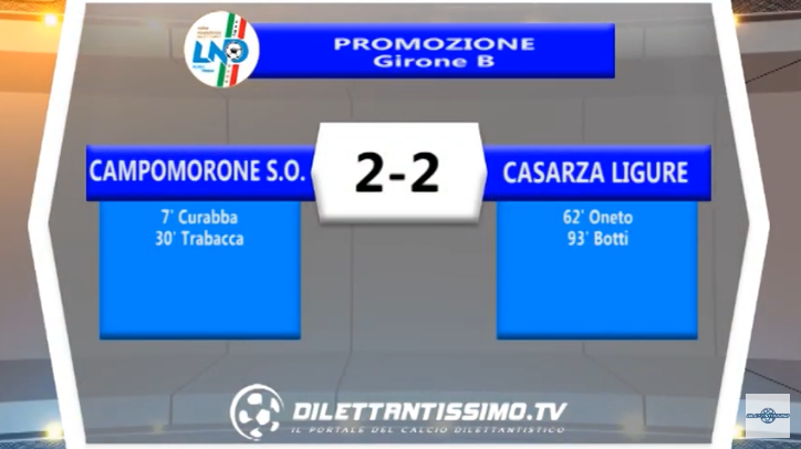 VIDEO – Promozione B: Il servizio di Campomorone SO-Casarza 2-2