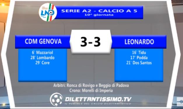 VIDEO – Futsal Serie A2: Il servizio di CDM Genova-Leonardo 3-3
