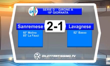 VIDEO – Serie D: Il servizio di Sanremese-Lavagnese 2-1