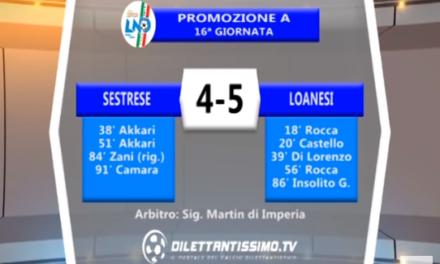VIDEO – Promozione A: Il servizio di Sestrese-Loanesi 4-5