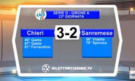 VIDEO – Serie D: Il servizio di Chieri-Sanremese 3-2