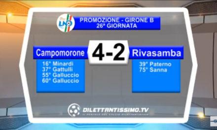 VIDEO: CAMPOMORONE – RIVASAMBA 4-2. Highlights + Interviste Promozione B 26ª Giornata