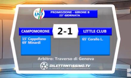VIDEO – Promozione B: Il servizio di Campomorone-Little Club 2-1