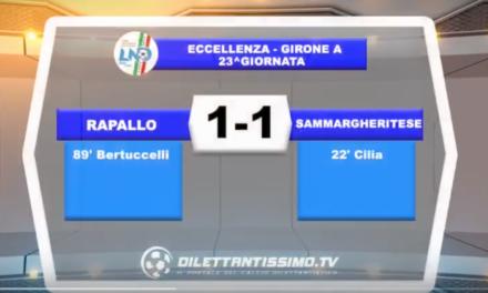 VIDEO – Eccellenza: il servizio di Rapallo-Sammargheritese 1-1