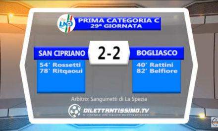 VIDEO: SAN CIPRIANO-BOGLIASCO 2-2. Highlights + Interviste + Moviola