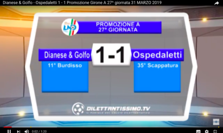 VIDEO: DIANESE & GOLFO- OSPEDALETTI 1-1
