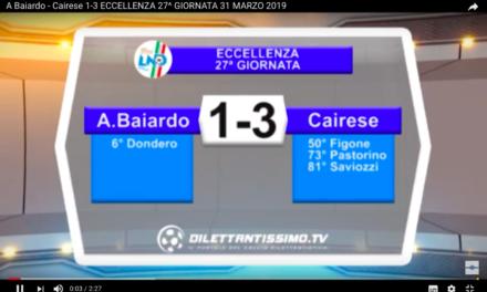 VIDEO: BAIARDO-CAIRESE 1-3