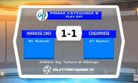 VIDEO: MARASSI – COGORNESE 1-1. Highlights e Interviste
