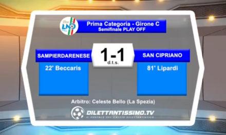 VIDEO: SAMPIERDARENESE-SAN CIPRIANO 1-1 Highlights + interviste
