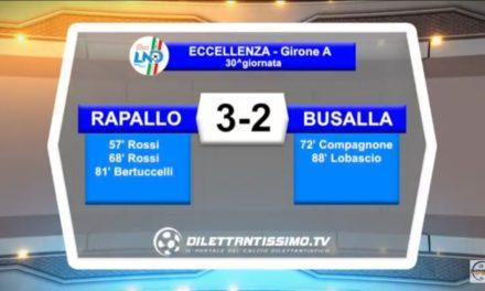 VIDEO: RAPALLO – BUSALLA 3-2. Highlights e Sintesi