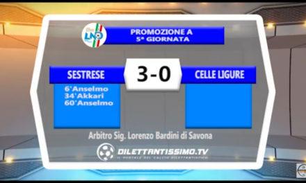 Video: SESTRESE- CELLE LIGURE 3-0. Highlights + Interviste