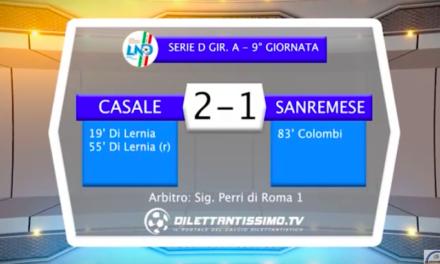 VIDEO – CASALE – SANREMESE 2-1: le immagini del match