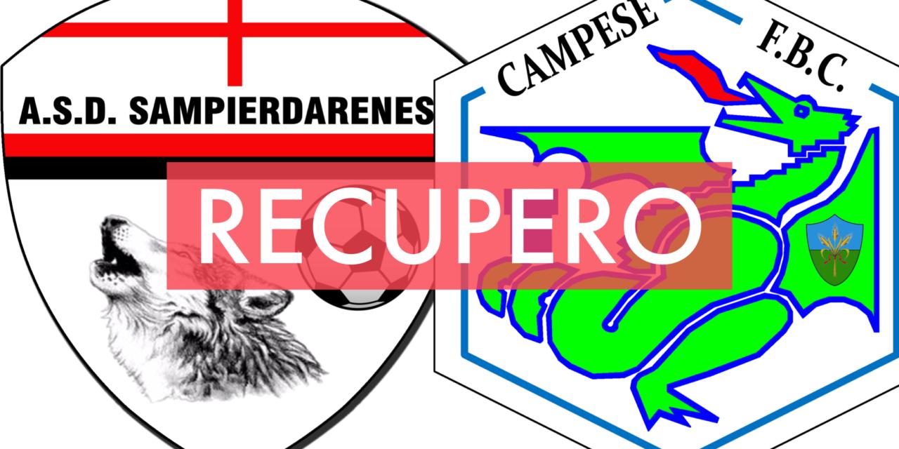 Prima Categoria C: segui con noi LIVE il recupero SAMPIERDARENESE-CAMPESE