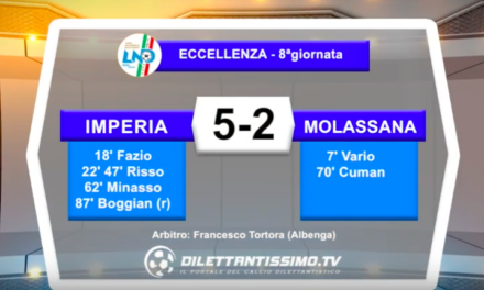 IMPERIA – MOLASSANA 5-2: Highlights della partita + Interviste