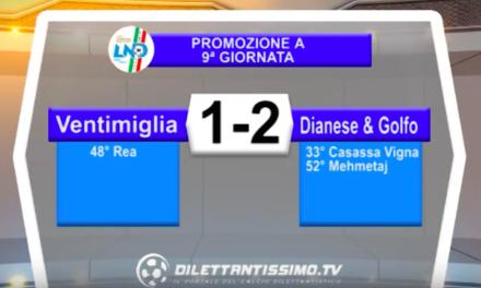 VENTIMIGLIA – DIANESE & GOLFO 1-2: Highlights della partita