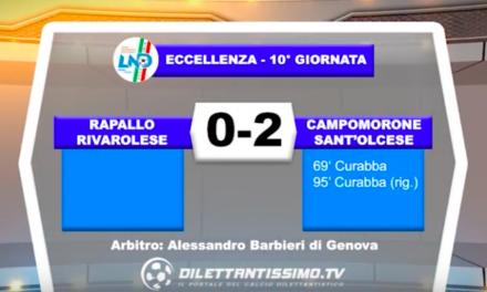 RAPALLO RIVAROLESE – CAMPOMORONE SANT'OLCESE 0-2: Highlights + interviste