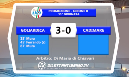 VIDEO – GOLIARDICA – CADIMARE 3-0: le immagini del match e le interviste