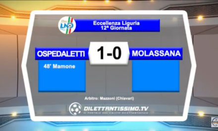 VIDEO: OSPEDALETTI-MOLASSANA 1-0 Highlights