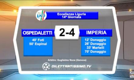 OSPEDALETTI – IMPERIA 2-4: Highlights della partita + interviste