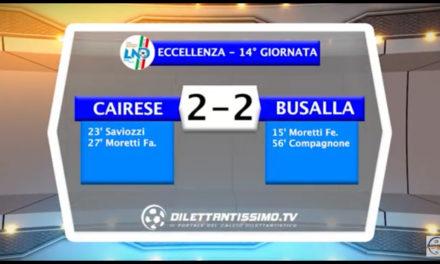 CAIRESE – BUSALLA 2-2: Highlights della partita