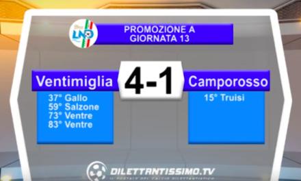 VENTIMIGLIA – CAMPOROSSO 4-1: Highlights della partita