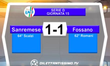 SANREMESE – FOSSANO CALCIO 1-1: Highlights della partita