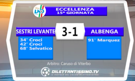 SESTRI LEVANTE – ALBENGA 3-1: Highlights della partita + interviste