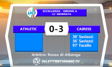 ATHLETIC – CAIRESE 0-3: Highlights della partita + interviste