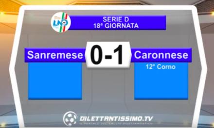 SANREMESE – CARONNESE 0-1: Highlights della partita